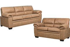 Jamieson Sofa Set Collection in Caramel, Includes: Sofa & LoveSeat - Click for more details