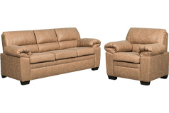 Jamieson Sofa Set Collection in Caramel, Includes: Sofa & Chair - Click for more details