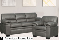 Jamieson Luxury Sofa Set Collection in Pewter, Includes: Sofa & Chair - Click for more details