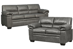 Jamieson Sofa Set Collection in Pewter, Includes: Sofa & Loveseat - Click for more details