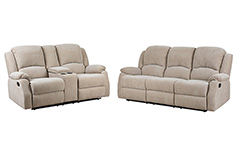 Crawford Recliner Set in Beige  Includes: Sofa, Loveseat - Click for more details