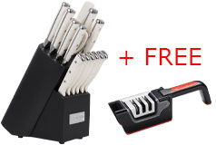 Cuisinart 15 piece German Steel Triple-Rivet Knife Block set & FREE Sharpening Station - Click for more details