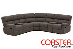 Coaster Morton Motion 3-Piece Upholstered Sectional in Brown - Click for more details