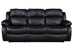 Bonded Leather Recliner Sofa in Black - Click for more details