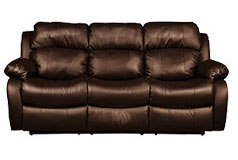 Bonded Leather Recliner Sofa in Brown    - Click for more details
