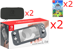 2 Nintendo Switch Lite Consoles in Grey, 2 Games & 2 Hori Tough Pouch Cases Bundle - Click for more details