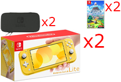 2 Nintendo Switch Lite Consoles in Yellow, 2 Games & 2 Hori Tough Pouch Cases Bundle - Click for more details