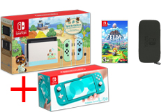 Nintendo Bundle of 4:Nintendo Switch Limited Edition, Turquoise Lite + Game, Carrying Case - Click for more details