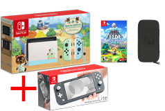 Nintendo Bundle of 4:Nintendo Switch Limited Edition, Grey Lite + Game, Carrying Case - Click for more details