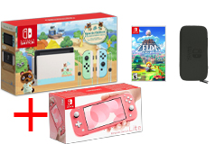 Nintendo Bundle of 4:Nintendo Switch Limited Edition, Coral Lite + Game, Carrying Case - Click for more details