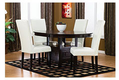 Ballard Chocolate Dining Set w/White Chairs