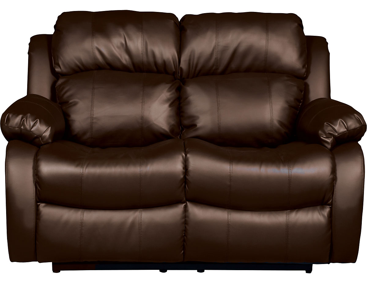 Bonded Leather Recliner Loveseat in Brown