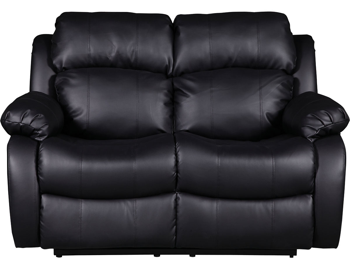 Bonded Leather Recliner Loveseat in Black