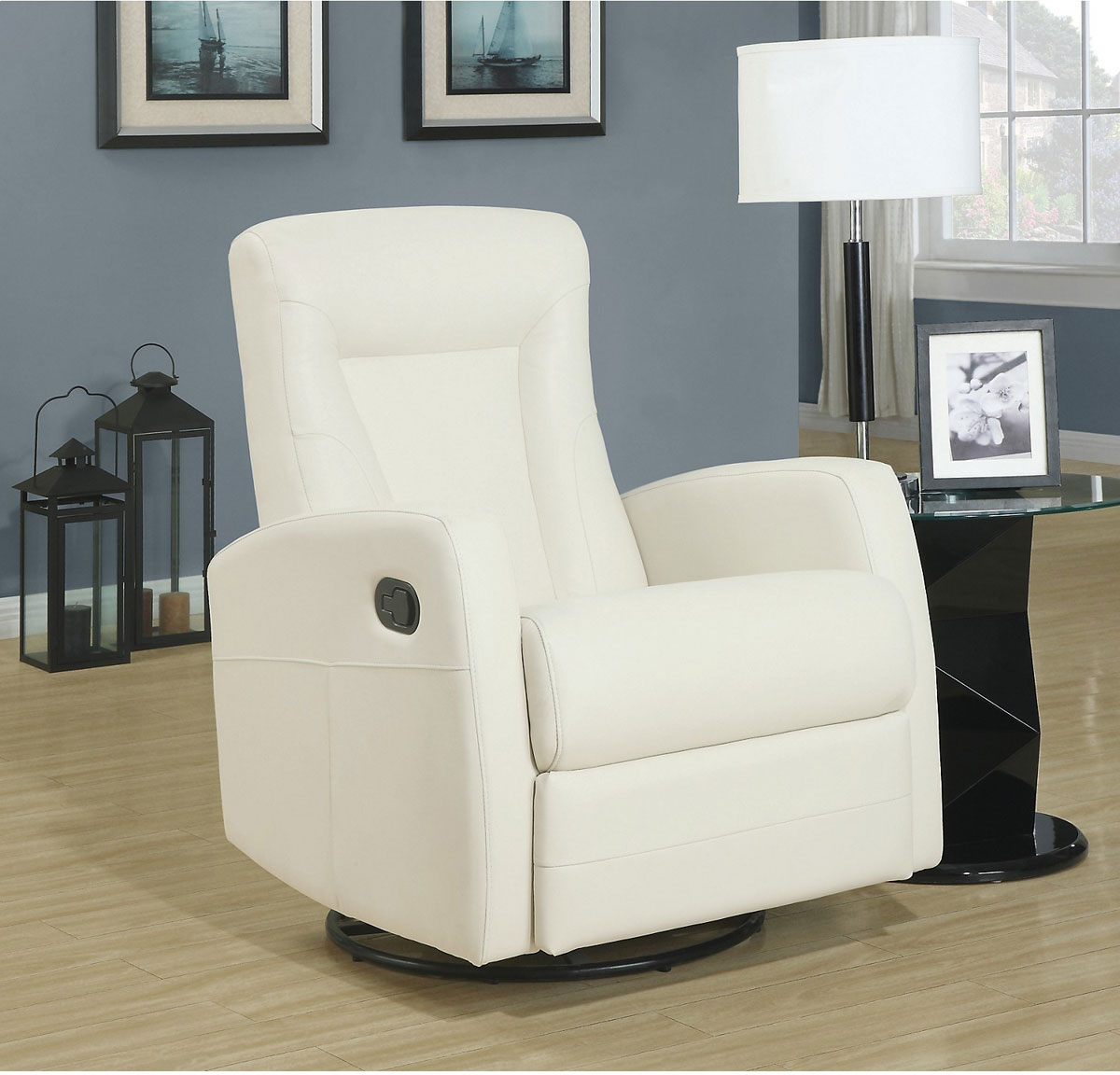 Reclining Leather Swivel Chair in Ivory
