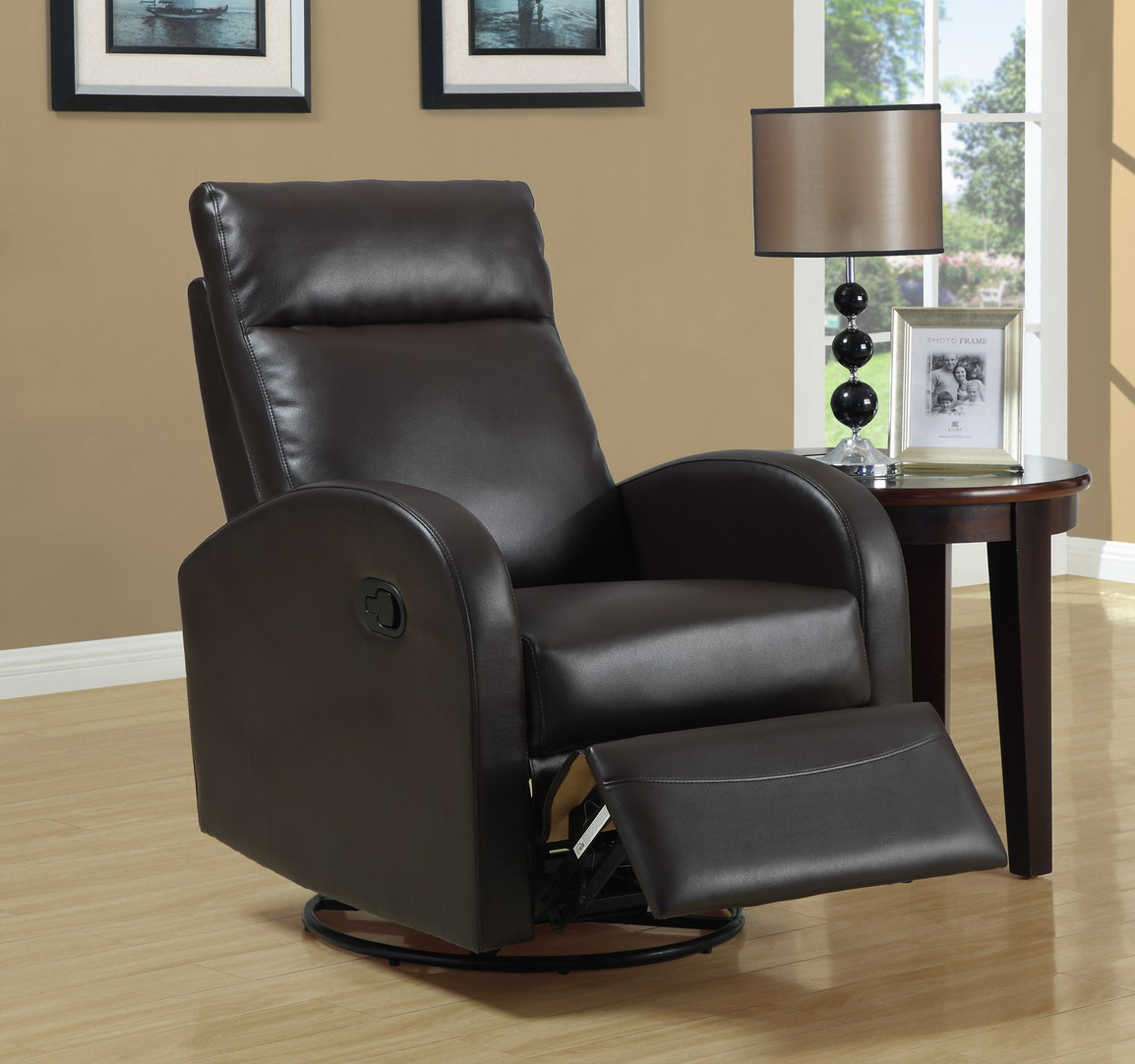 Reclining Leather Swivel Chair in Brown