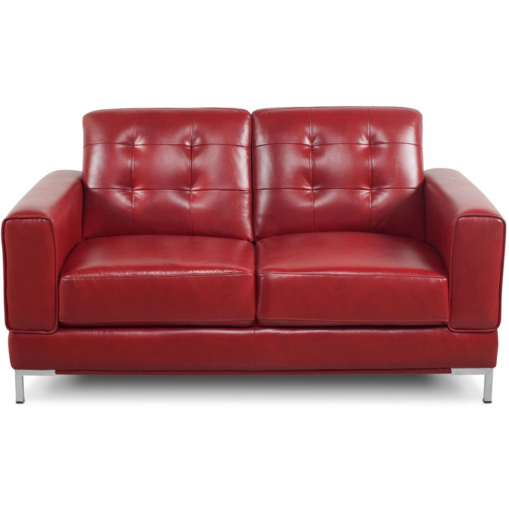 Vista Leather-Like Loveseat in Red