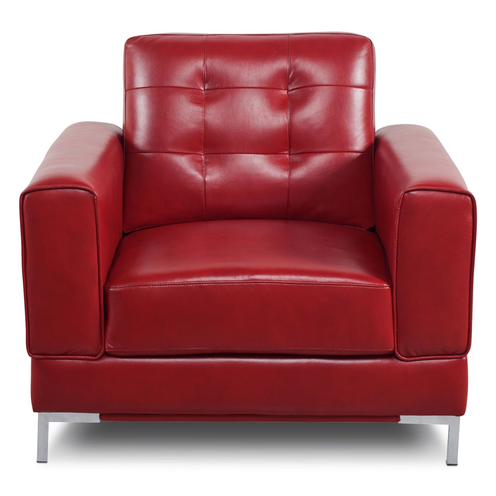 Vista Leather-Like Fabric Chair in Red