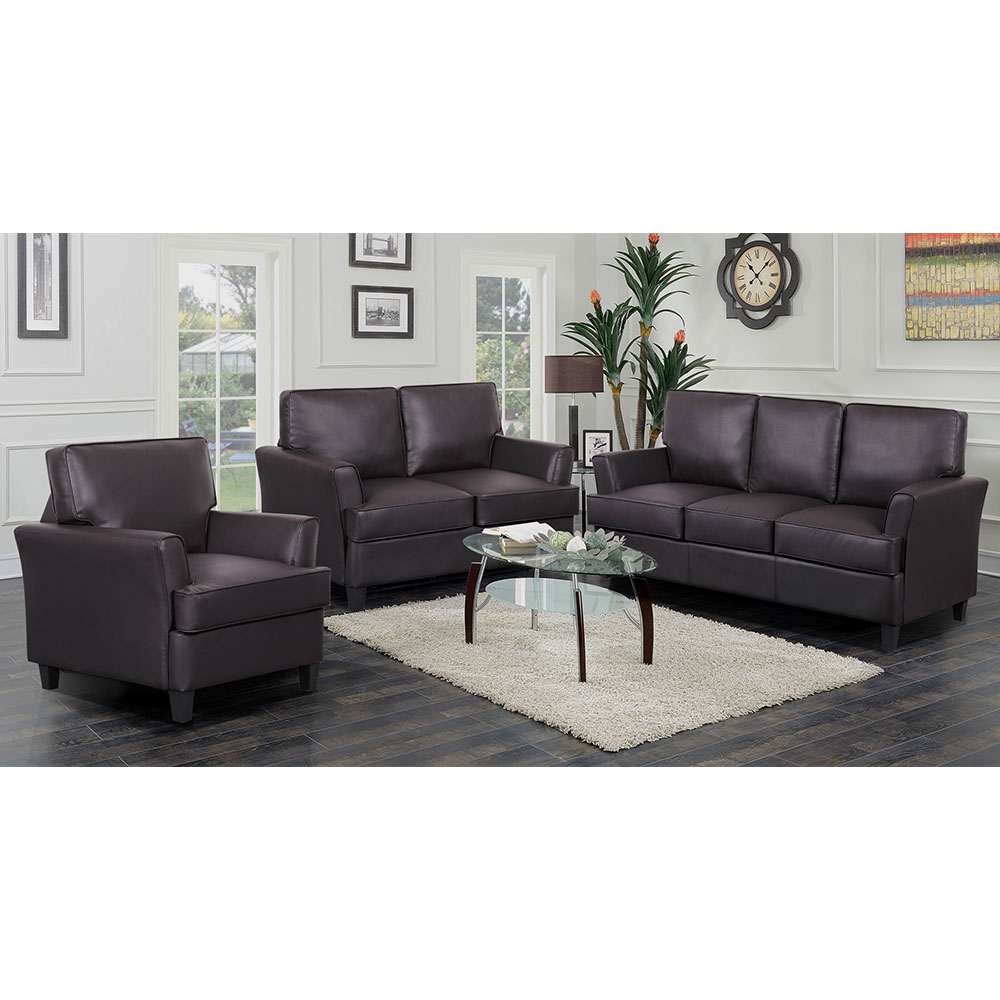 Cornas 3 Piece Living Room Setin Brown Bonded LeatherSofa, Loveseat, Chair