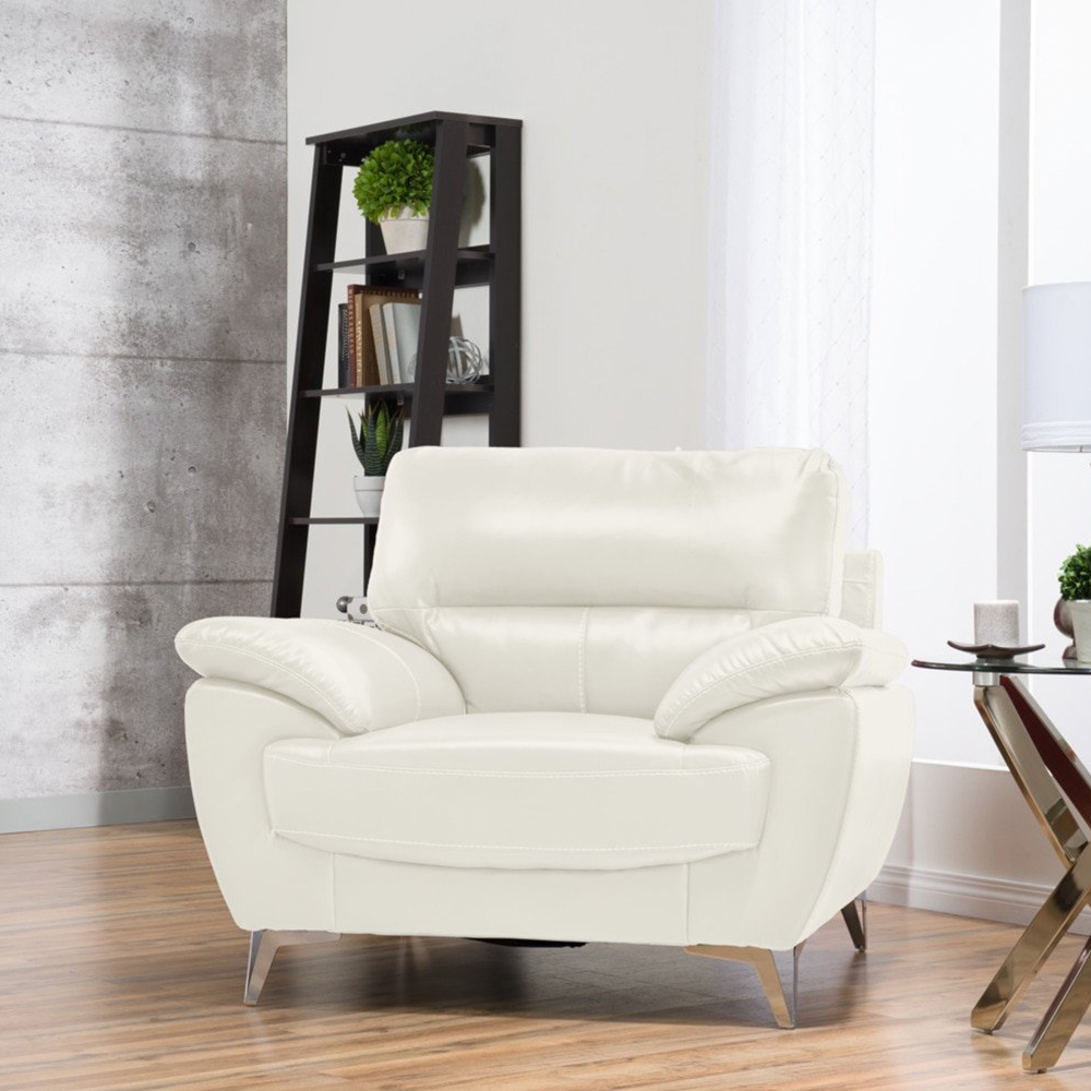 Ernestine Chair in Snow Leather-Look Fabric