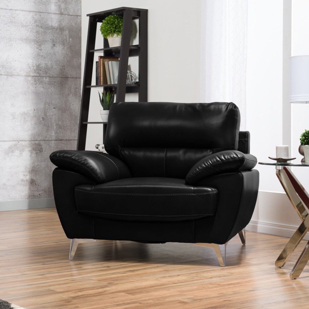 Ernestine Chair in Black Leather-Look Fabric