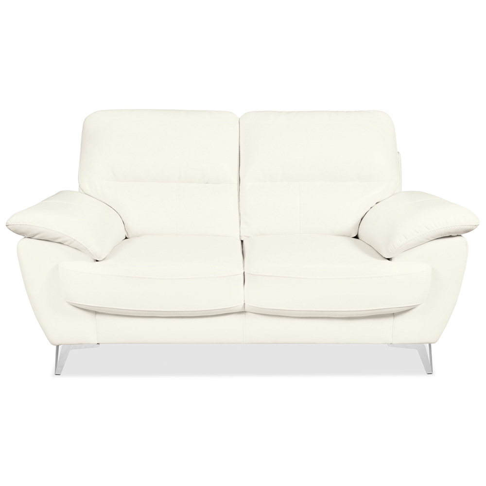 Ernestine Loveseat in Snow Leather-Look Fabric