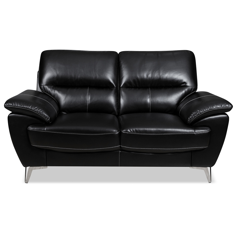 Ernestine Loveseat in Black Leather-Look Fabric
