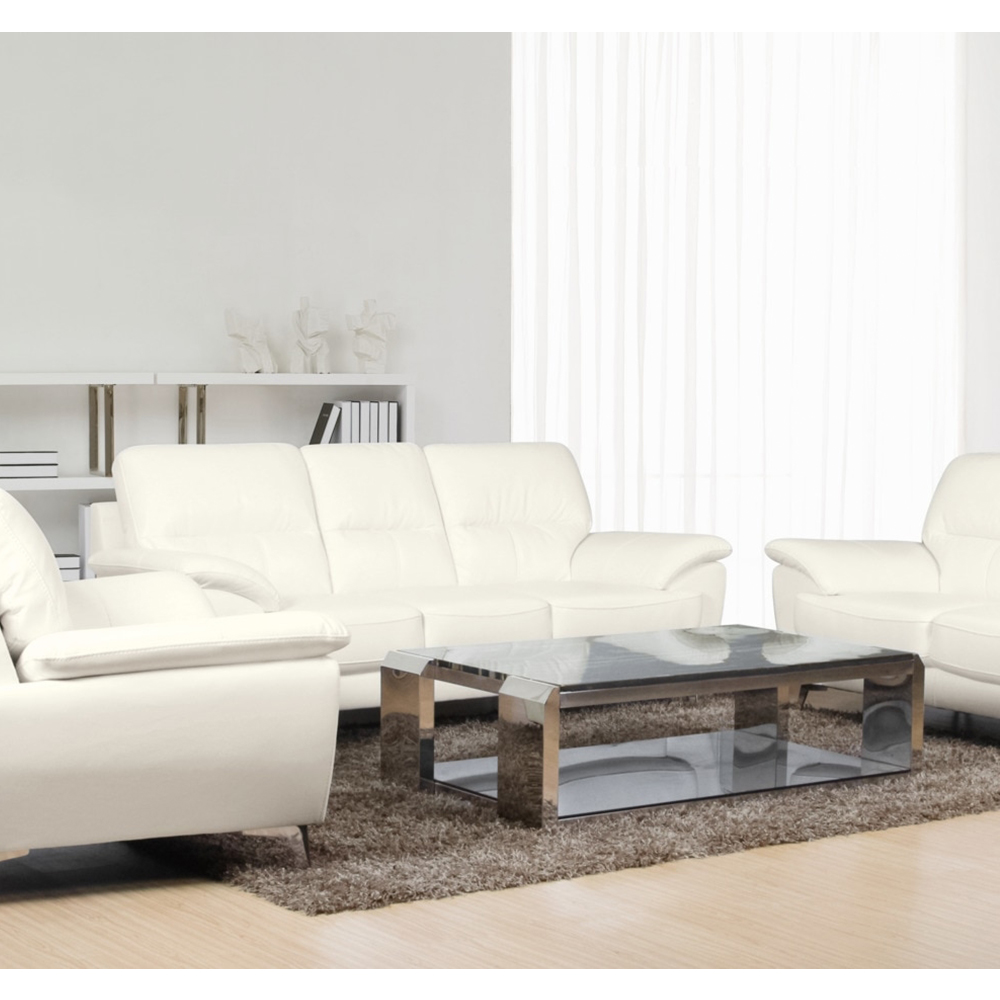 Ernestine Sofa in Snow Leather-Look Fabric