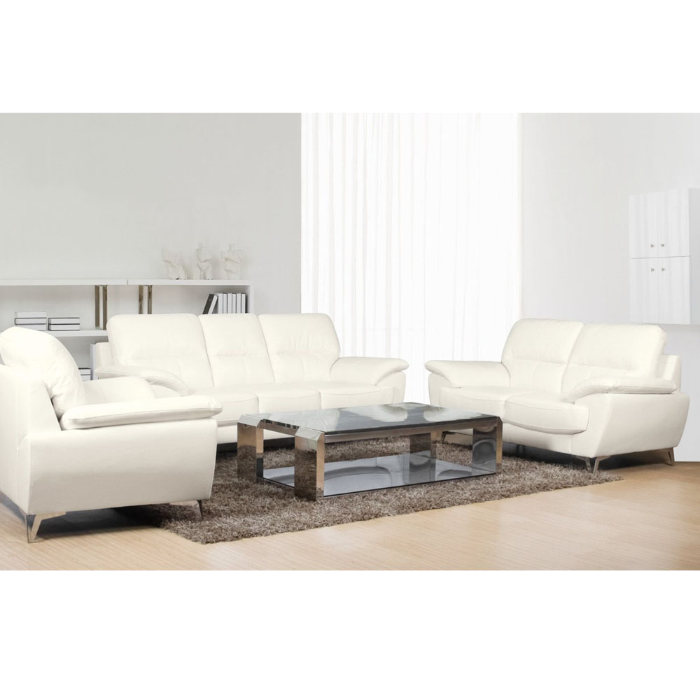 Ernestine Living Room Set Includes: Sofa, Loveseat & ChairLeather-Look - Snow