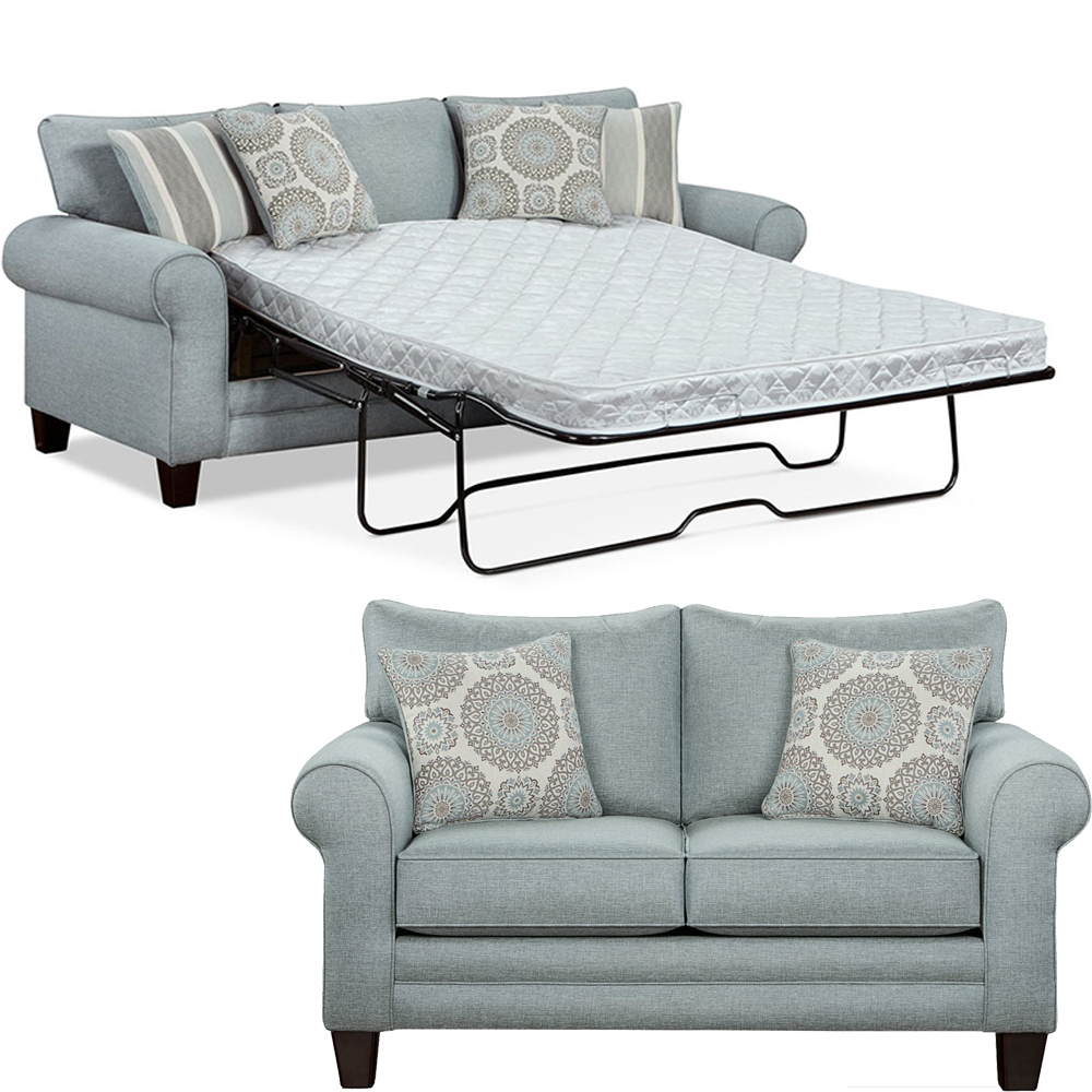 Tamy Living Room Set Includes: Sofa-Bed & Loveseat Fabric in Mist