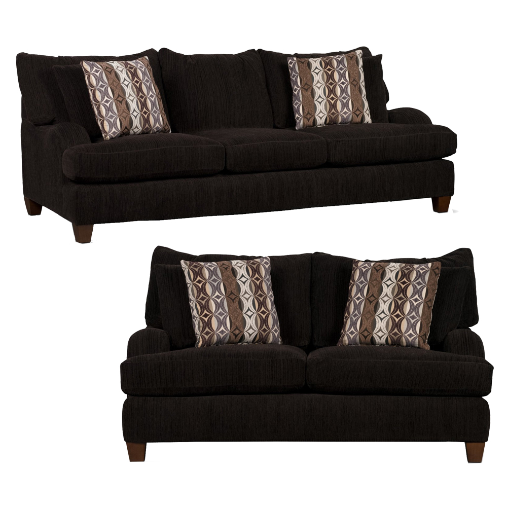 Alexa Living Room Set Includes: Sofa & Loveseat in Chocolate Chenille