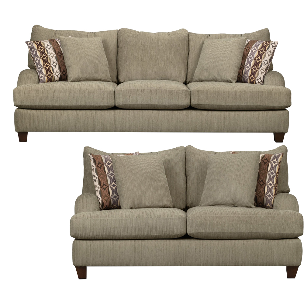 Alexa Living Room Set Includes: Sofa & Loveseat in Beige Chenille