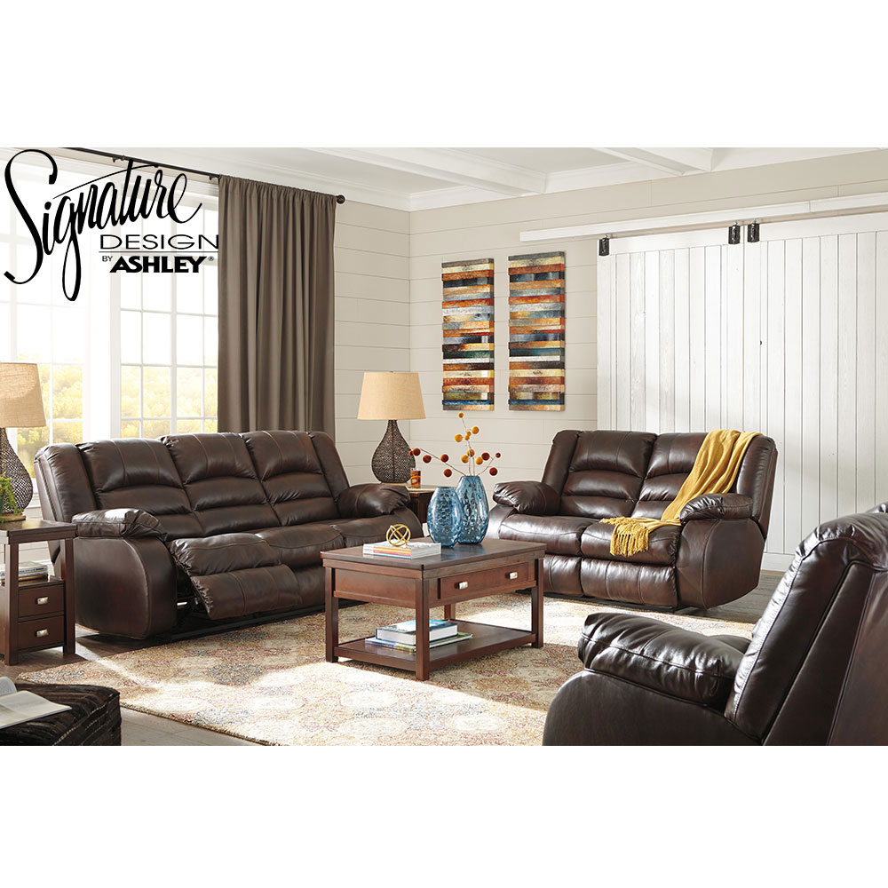 Levelland Recliner Living Room Set Includes: Sofa Loveseat & Chair in Genuine Leather by Ashley