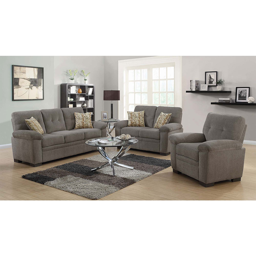Fairbairn Living Room Set Includes: Sofa, Loveseat & Chair in Chenille by Coaster
