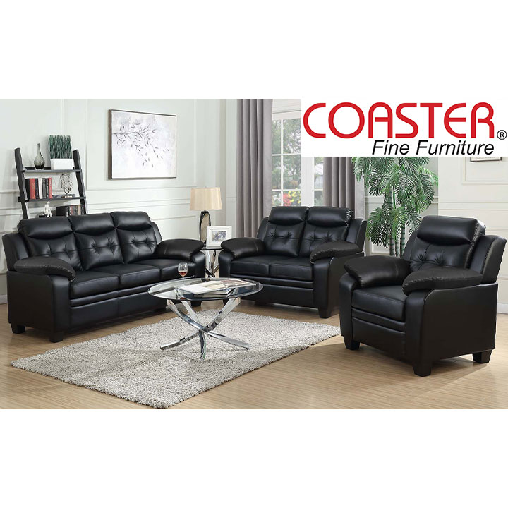 Finley Living Room Set  Includes: Sofa, Loveseat & Chair  Leatherette by Coaster
