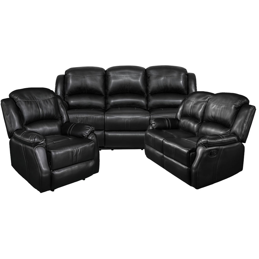 Lorraine Recliner Living Room Set  Includes: Sofa, Loveseat & Chair Black Bonded Leather