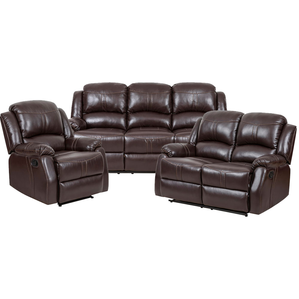 Lorraine Recliner Living Room Set  Includes: Sofa, Loveseat & Chair Brown Bonded Leather