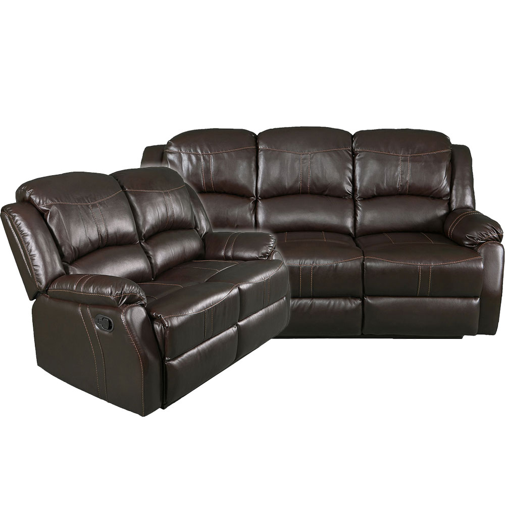 Lorraine Recliner Living Room Set  Includes: Sofa & Loveseat Brown Bonded Leather