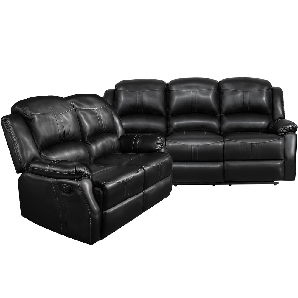 Lorraine Recliner Living Room Set  Includes: Sofa & Loveseat Black Bonded Leather