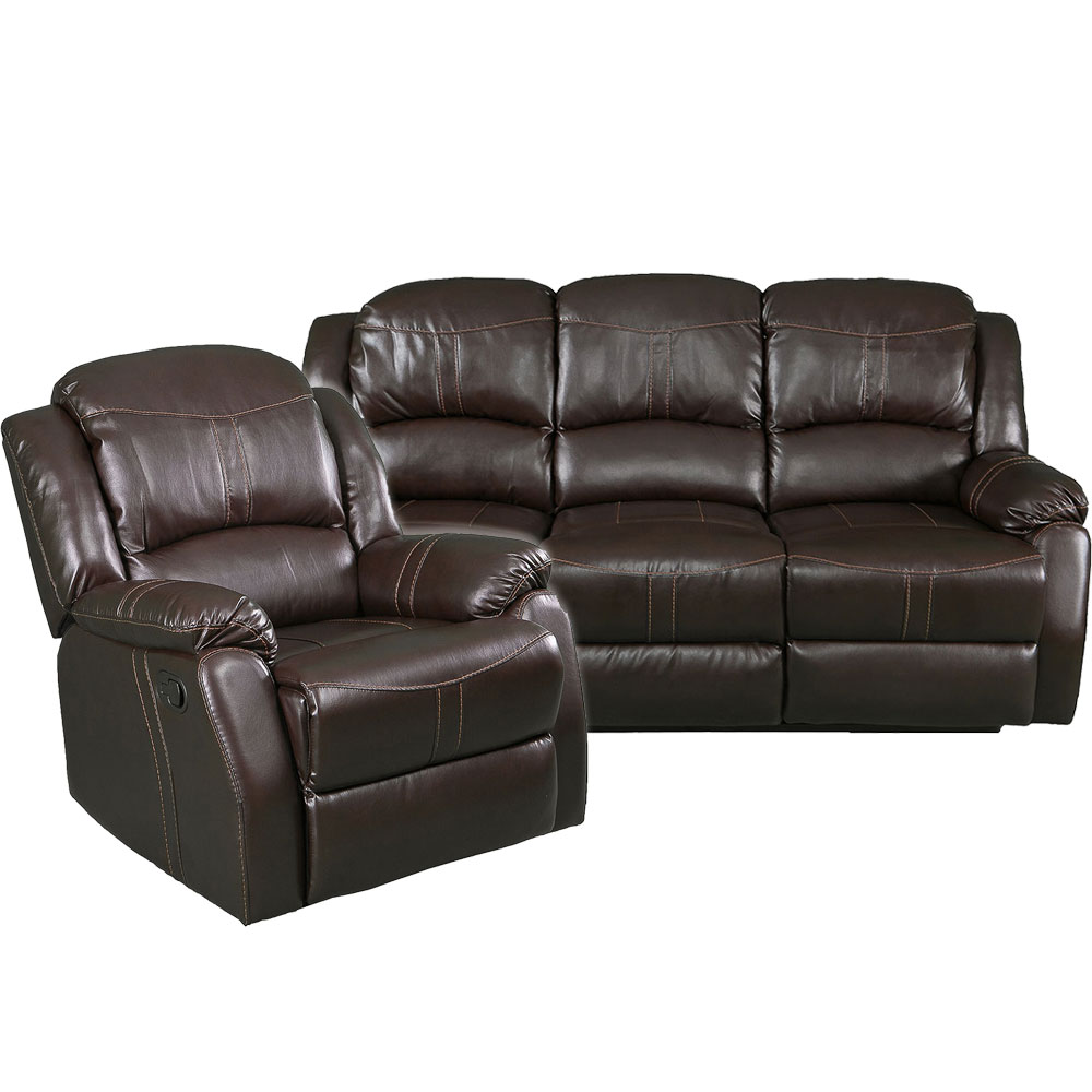 Lorraine Recliner Living Room Set Includes: Sofa & Chair Mocha Bonded Leather