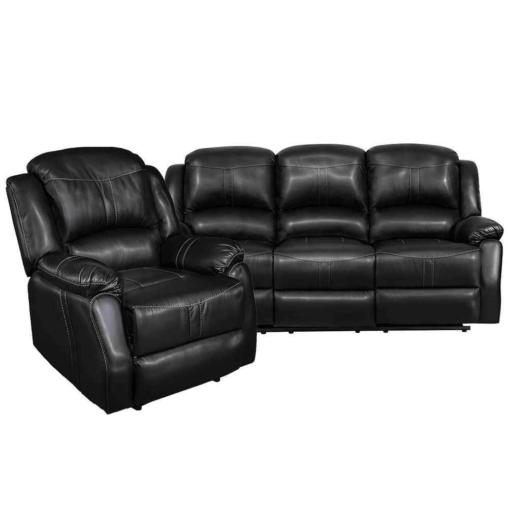 Lorraine Recliner Living Room Set Includes: Sofa & ChairBlack Bonded Leather