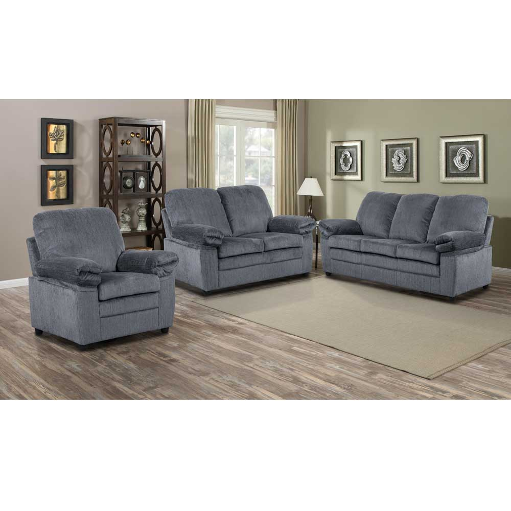 London Living Room Set in Grey Chenille  Includes: Sofa, Loveseat & Chair