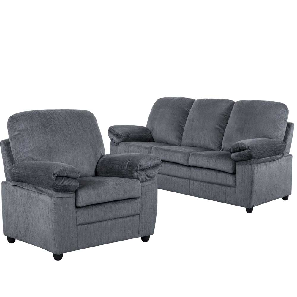 London Living Room Set  In grey chenille  Includes: Sofa & Chair