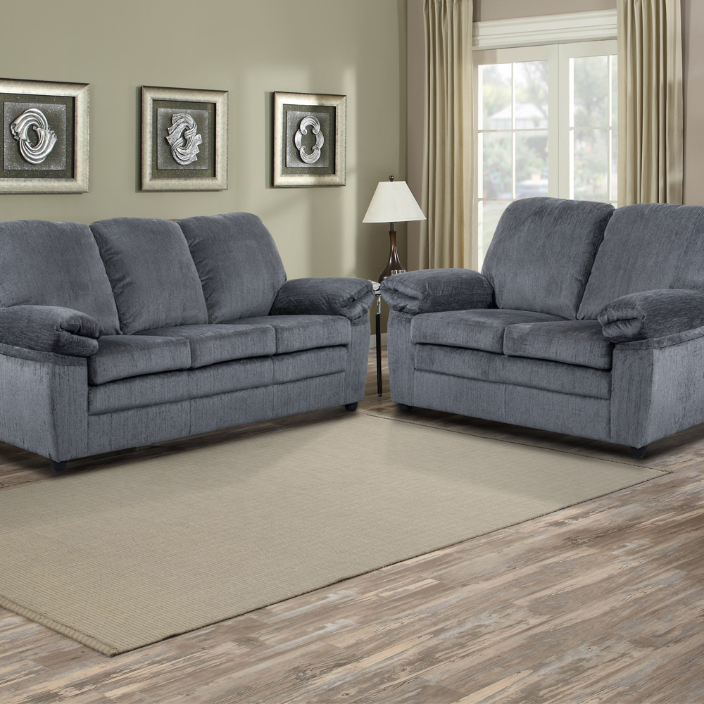 London Living Room Set In grey chenille   Includes: Sofa & Loveseat