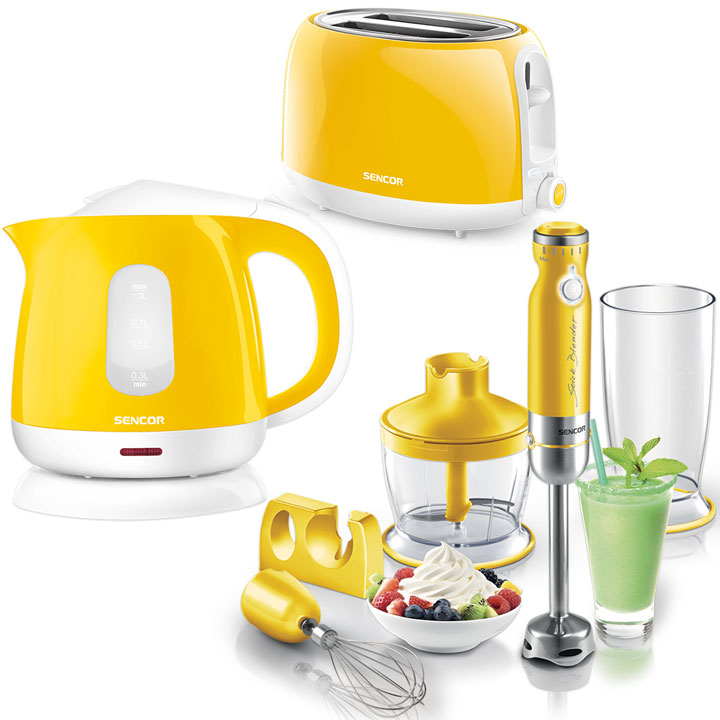 Kitchen Essentials - Sencor Toaster, Kettle and Hand Blender Bundle in Yellow