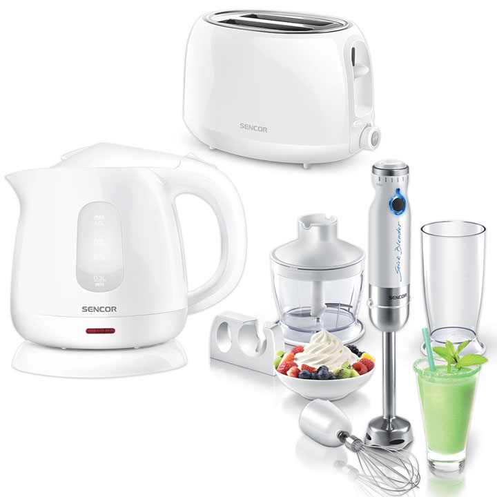 Kitchen Essentials - Sencor Toaster, Kettle and Hand Blender Bundle in White
