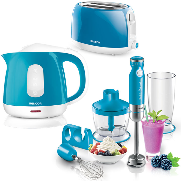 Kitchen Essentials - Sencor Toaster, Kettle and Hand Blender Bundle in Turquoise