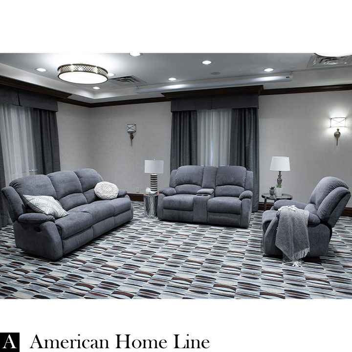 Crawford Luxury Recliner Livingroom Set in Grey Chenille Includes: Sofa, Loveseat, Chair