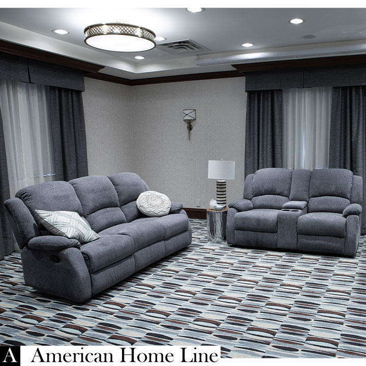 Crawford Luxury Recliner Set in Grey  Includes: Sofa, Loveseat