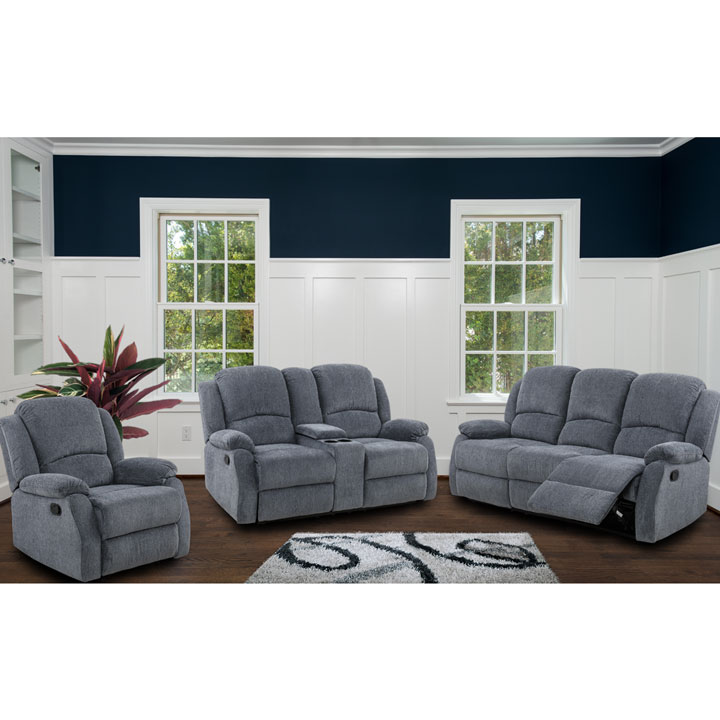 Crawford Recliner Livingroom Set in Grey Chenille Includes: Sofa, Loveseat, Chair