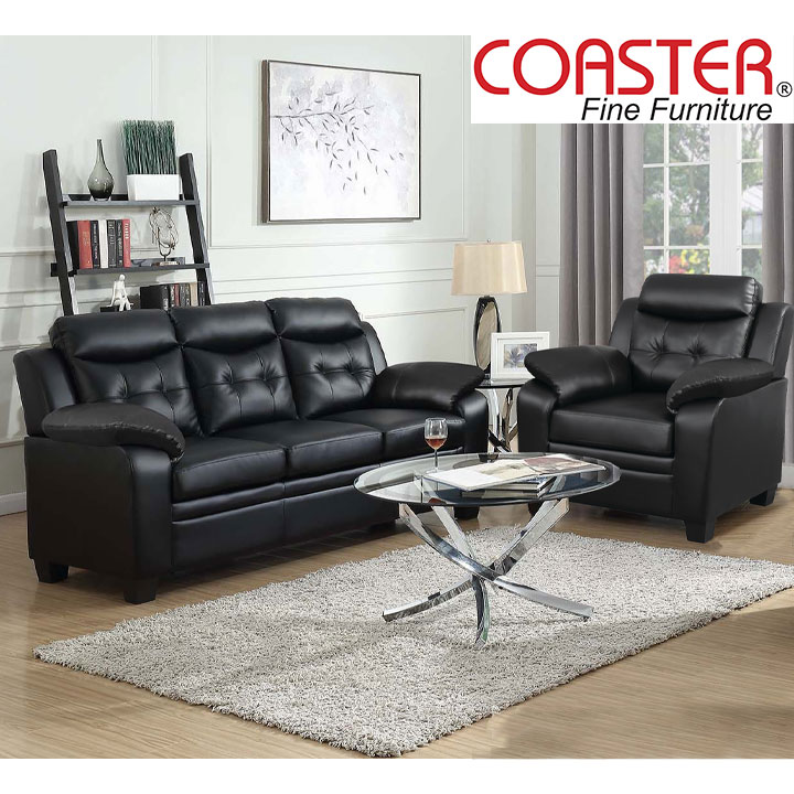 Finley Living Room Set Includes: Sofa, Chair Leatherette by Coaster